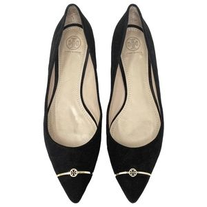 Tory Burch Pointed Bar Logo Suede Flats